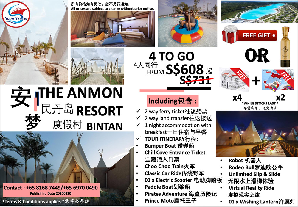 THE ANMON RESORT BINTAN 4 TO GO $608